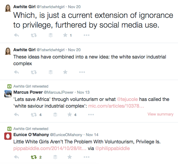student brilliantly tweets essay on voluntourism and privilege  screen shot 2014 11 24 at 9 06 00 pm