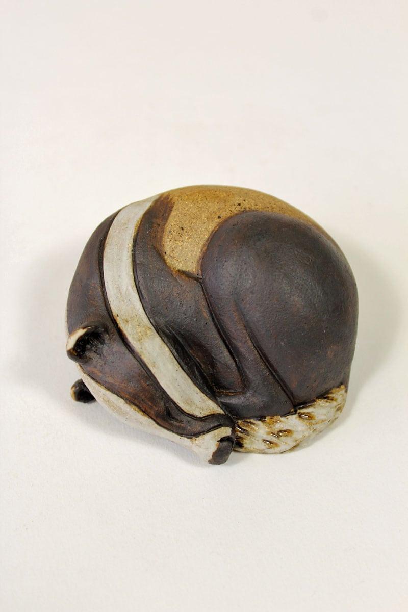 Curled up Badger - ceramic clay sculpture