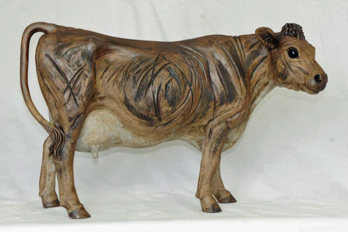 A Standing Brown Cow - ceramic clay sculpture