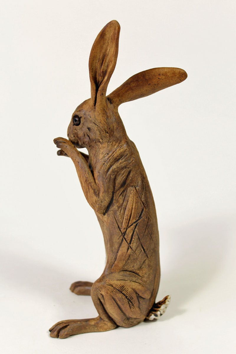 Standing Hare twitching his nose - ceramic clay sculpture