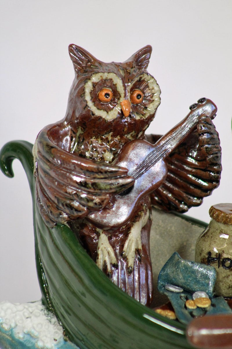 The Owl and The Pussycat - clay ceramic sculpture