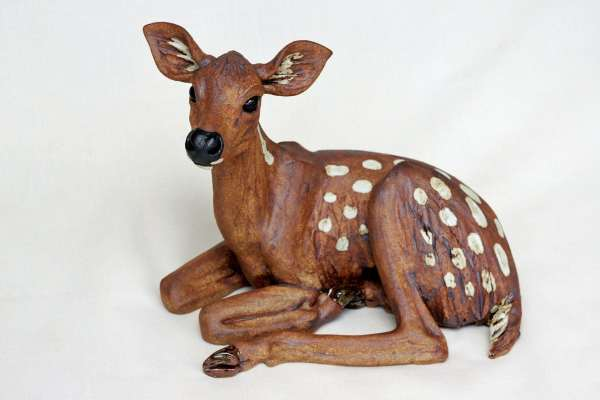 Deer Fawn Curled With Head Raised - Pippa Hill Animal Sculpture
