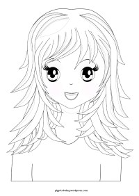 Manga girl with long hair | Pippi's Coloring Pages