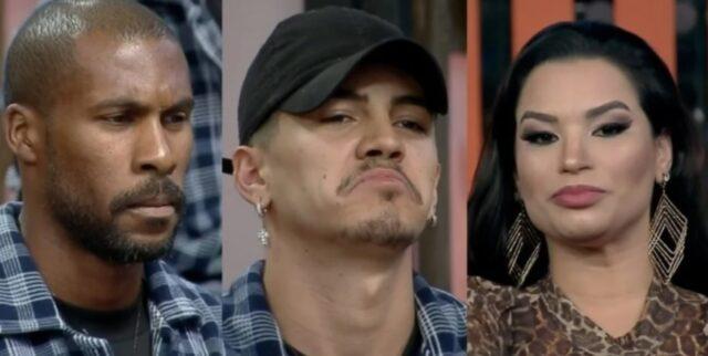 Uma foto dos peões Rodrigo, Biel e Raissa que estão na Roça
