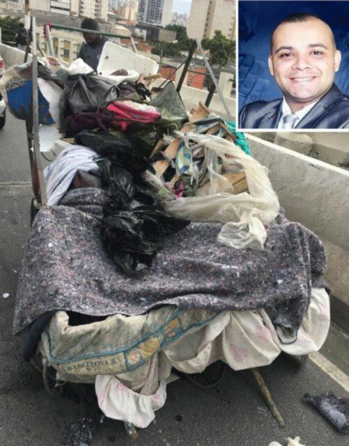Uma foto da carroça onde o corpo do PM foi localizado
