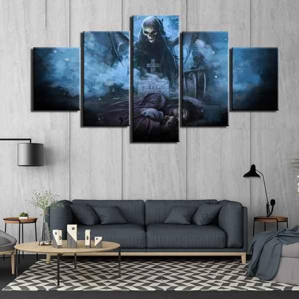 Death canvas on wall