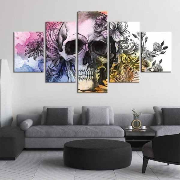 Pop art skull painting on wall