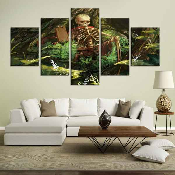 Skeleton painting on canvas on wall