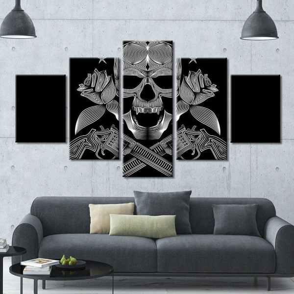 Skull gun painting on wall