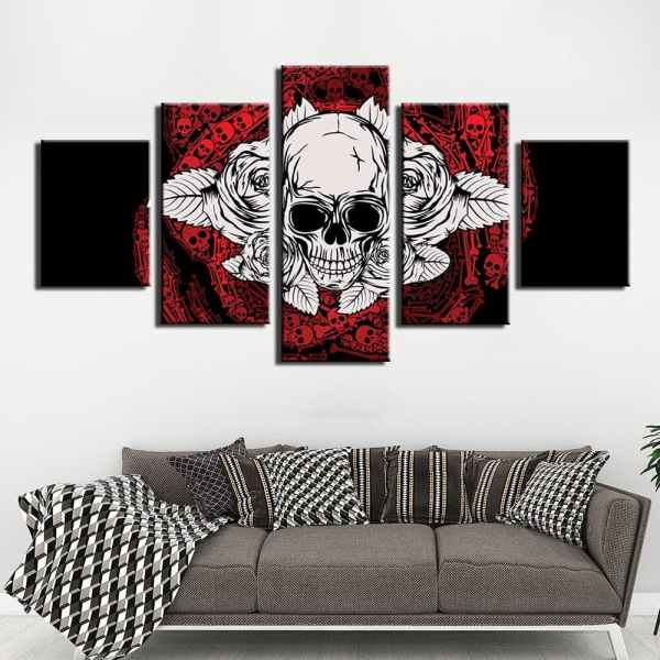 Skull painting on canvas on wall