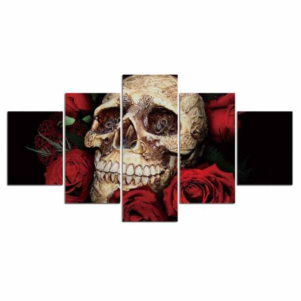 Skull and rose painting