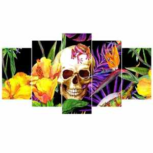 Skull with flowers painting