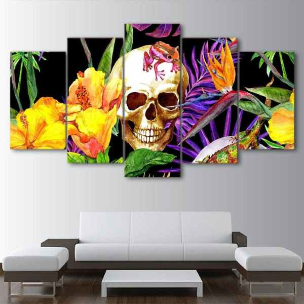 Skull with flowers painting on wall