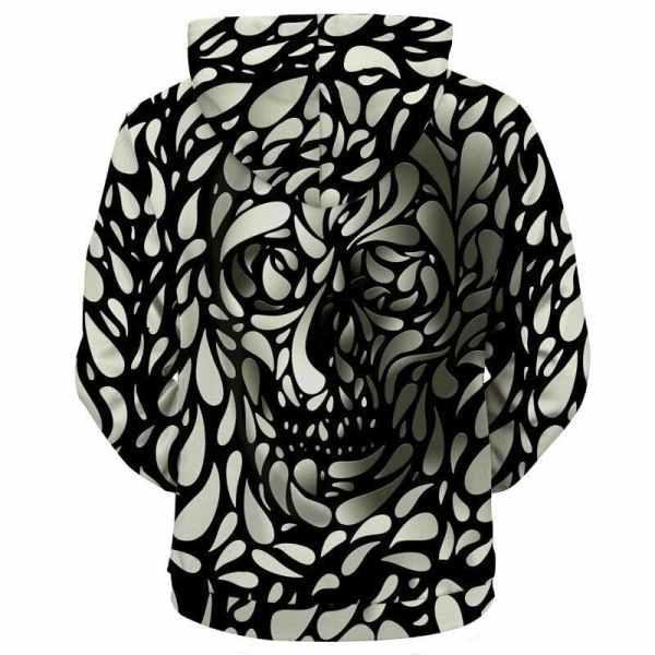 3D Skull Hoodie back
