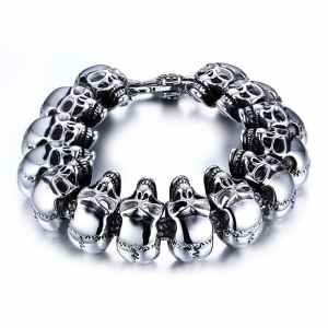 Biker skull charm bracelet