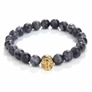 Black Line Jasper Skull Bracelet
