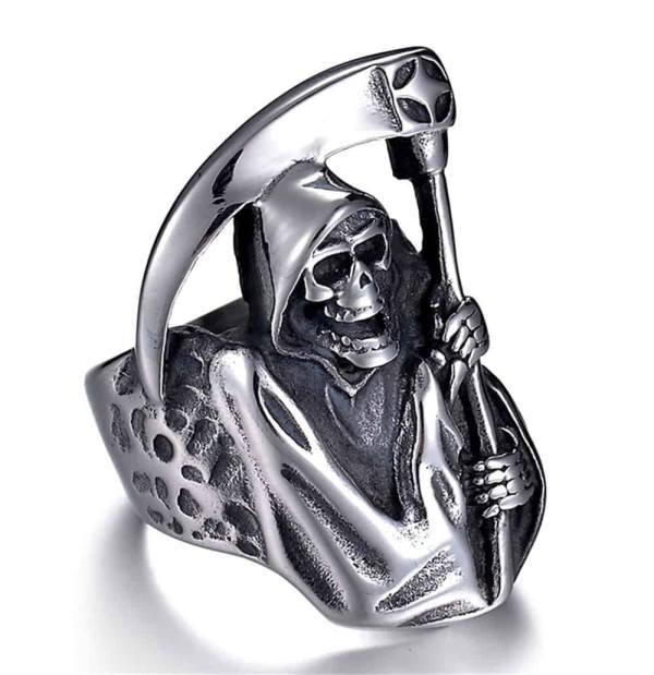 Grim Reaper Skull Ring side