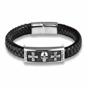 Skull and Leather Bracelet