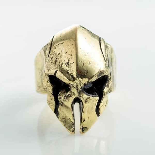 Spartan helmet ring old gold
