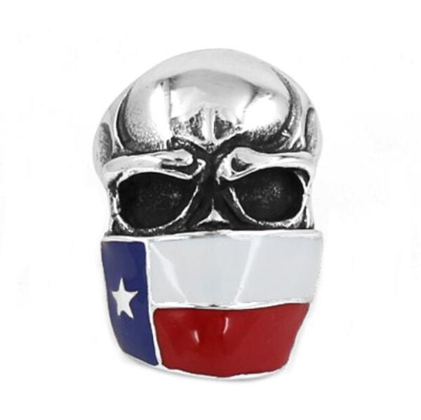Texas Flag Skull Ring