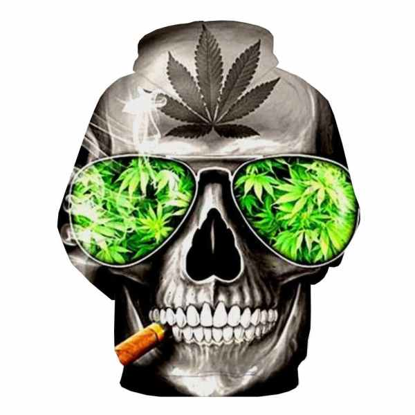 Skull Smoking Weed Hoodie back