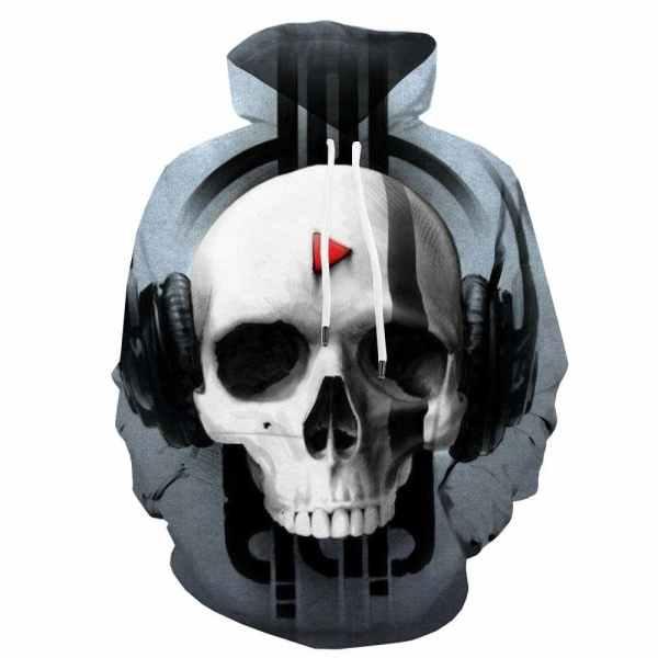 Skull with Headphones Hoodie