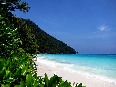 The clear waters and white sandy beaches of the Similan Islands