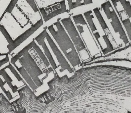 extract of Peter Thompson map - alleys in 1571