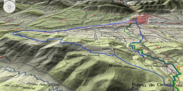 Mapa en 3D de la ruta 23, Torre del Moro