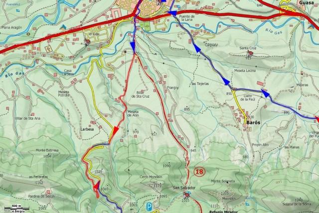 Mapa detalle subida al puerto de Oroel