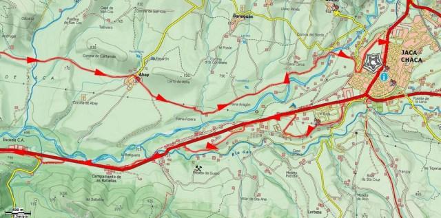 Mapa detalle de la ruta más próxima a Jaca