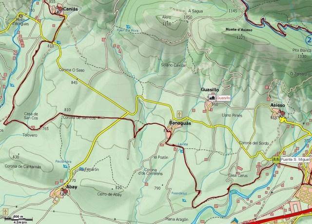 Mapa con detalle de la vuelta por Banaguas