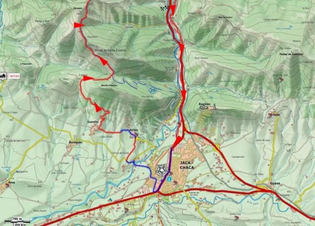 Mapa de detalle de la salida por Asieso y Guasillo