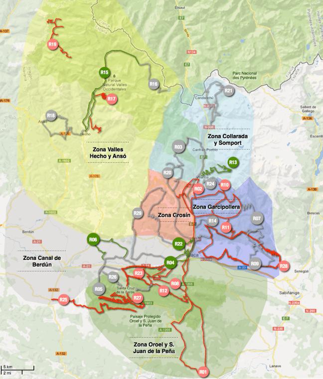 Mapa de rutas con definición por zona