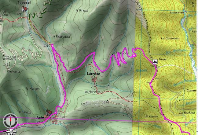 Mapa detalle: desvío de Larrosa