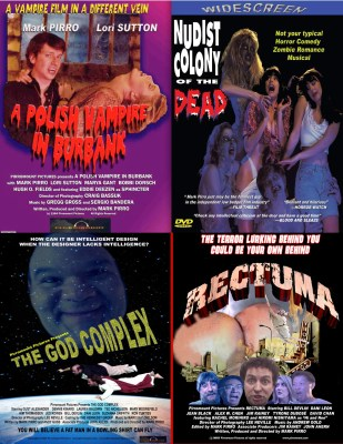 Posters from four Pirromount comedies: Polish Vampire, Queerwolf, Rectuma, Nudist Colony of the Dead