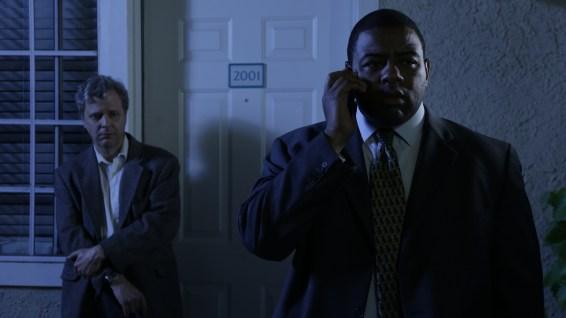 "Mr. Neimano (Doug MachPherson) and Detective Kuchner (Keeshan Giles) get some disturbing news in Pirromount's ""Rage of Innocence."""