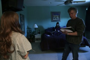 Director Mark Pirro working with Chelsea Cook and Dani Leon (doubling for lead actress Stef Dawson) in Pirromount Pictures' Rage of Innocence