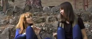 "Raven Sutton (Stef Dawson) shares a joint with Sharon Marsden (Chelsea Cook) in Pirromount's ""Rage of Innocence"" (2014)"