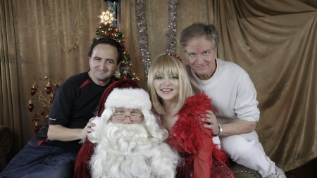 Music video starring Judy Tenuta and Richard Sebastian as Santa - Also pictured is director Mark Pirro and cinematographer Bruce Heinous