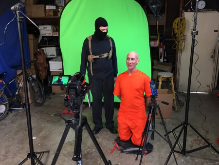 Pirromount actors Andy Guss and Doug McPherson shooting an ISIS parody