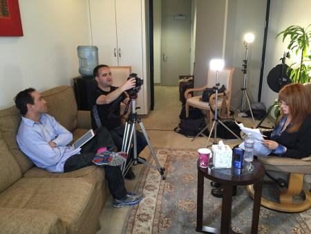 "Dennis Kinard, Judy Tenuta and Bruce Heinsius at work on ""Celluloid Soul."""