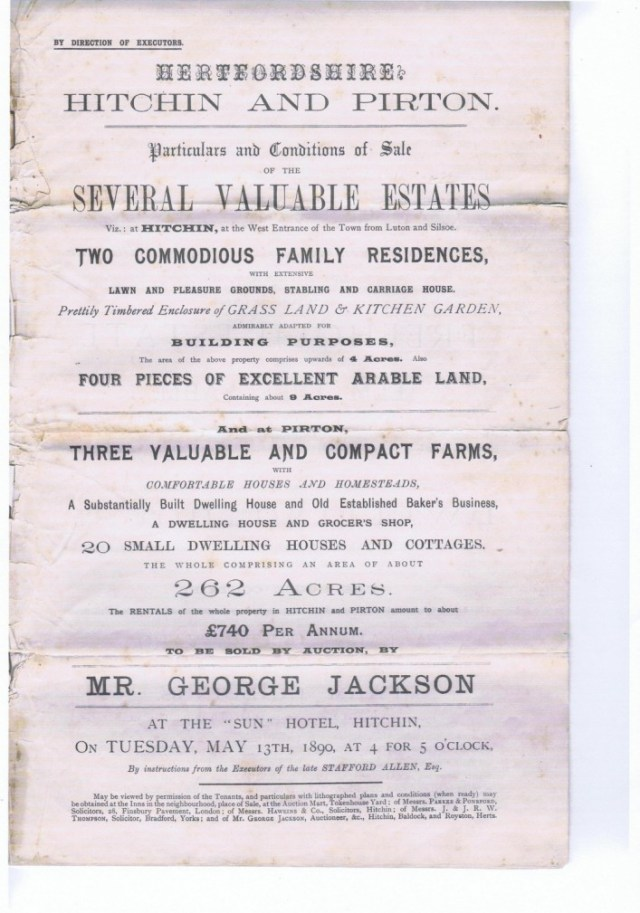 Stafford Allen died and all his in Pirton was auctioned