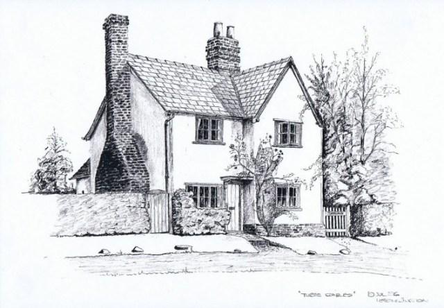 Howard Etherington sketched Three Gables for its owner Michael Gander.