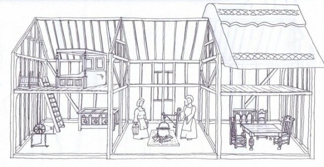 A reconstruction of how the house may have looked in 1600.