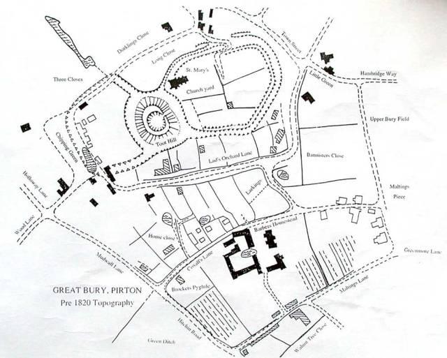 Great Bury Pirton - Pre 1820 Topography.