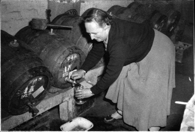 May in the taproom in 1957