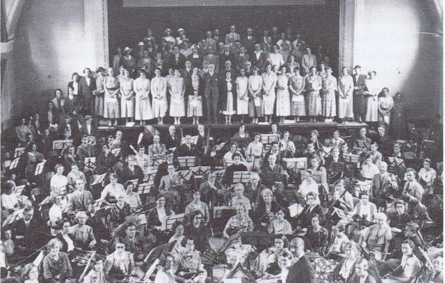 Adrian Boult conducting the orchestra on Founders Day at Hitchin Town Hall.The Pirton Orchestra took part in this event.
