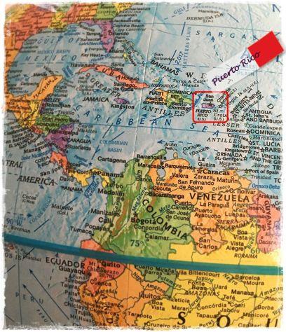 Puerto Rico localizado en el Globo