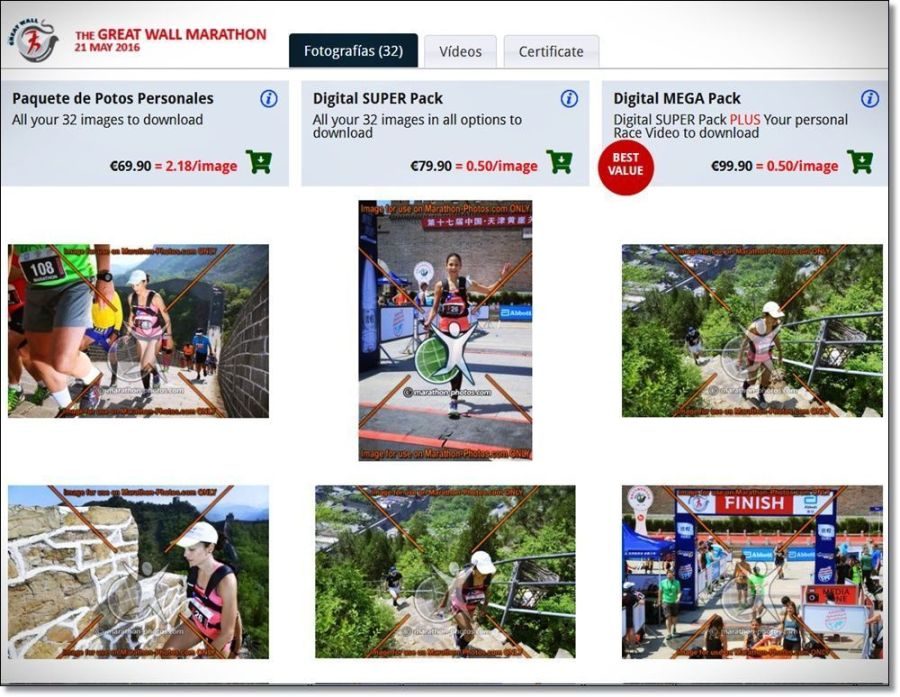 """Ejemplo de paquete de fotografías de mi """"Great Wall Marathón"""""""